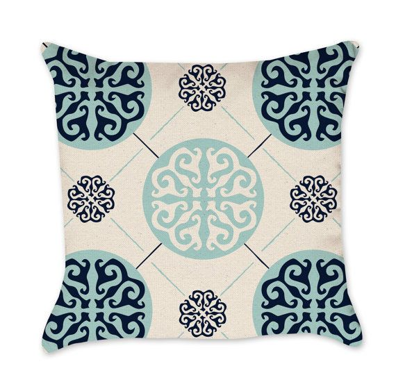 Medallion Patterned Pillow Cover In Navy Blue And Seafoam Medallion Pillow Cotton Duck Natural Throw Pillow Natural Throw Pillows Pillows Medallion Pillow