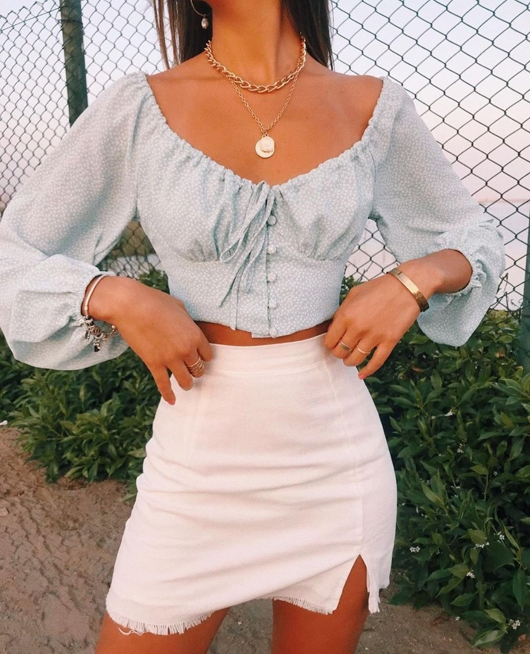 """VERGE GIRL on Instagram: """"Darling @luanabarron in our… NAMED DESIRE MINI SKIRT in WHITE ✵ worn with our  ECCENTRIC INDIVIDUALS TOP in SKY  Shop link in photo"""""""