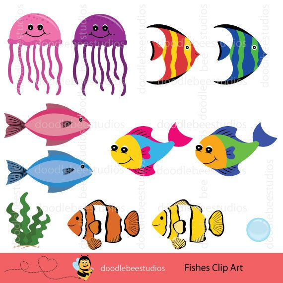 Fishes Clipart Fish Clipart Sealife Clipart Tropical Fish Clipart Digital Fish Colorful Fish Jellyfish Clipart Di Fish Clipart Animal Mugs Colorful Fish