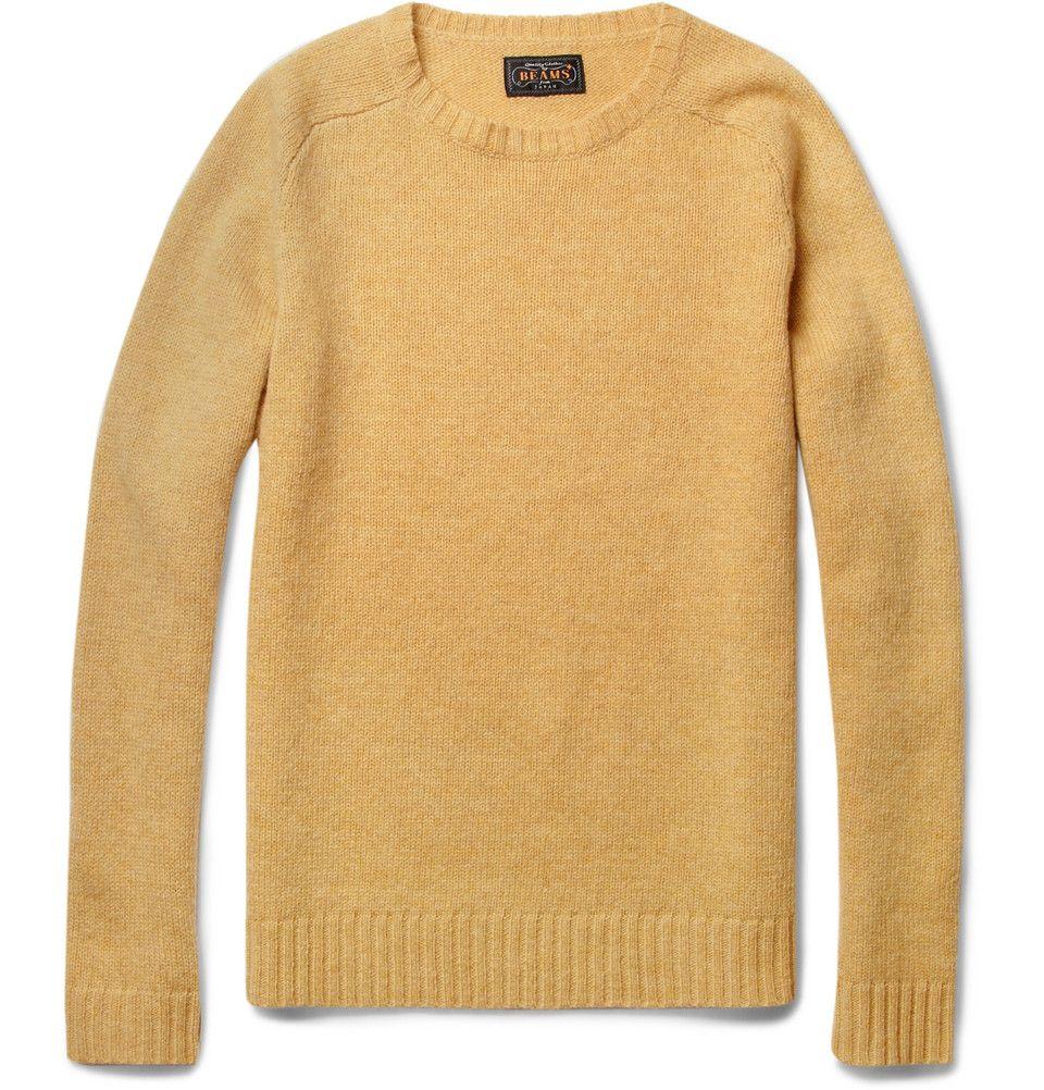 Beams Plus - Wool Crew Neck Sweater - Yellow - £175 | L O U I E ...