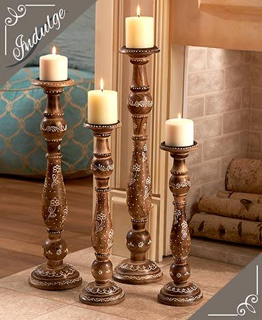 Handcrafted Wood Candleholder Set Candleholders Wood