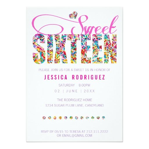 Candy Theme Sweet Sixteen Birthday Invitation 16th Birthday Party