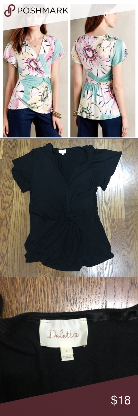 Black Deletta faux wrap shirt Black Deletta faux wrap shirt - please note this is black. I have the floral picture for reference and also selling the floral one. Beautiful design and flattering fit. EUC! Anthropologie Tops Blouses
