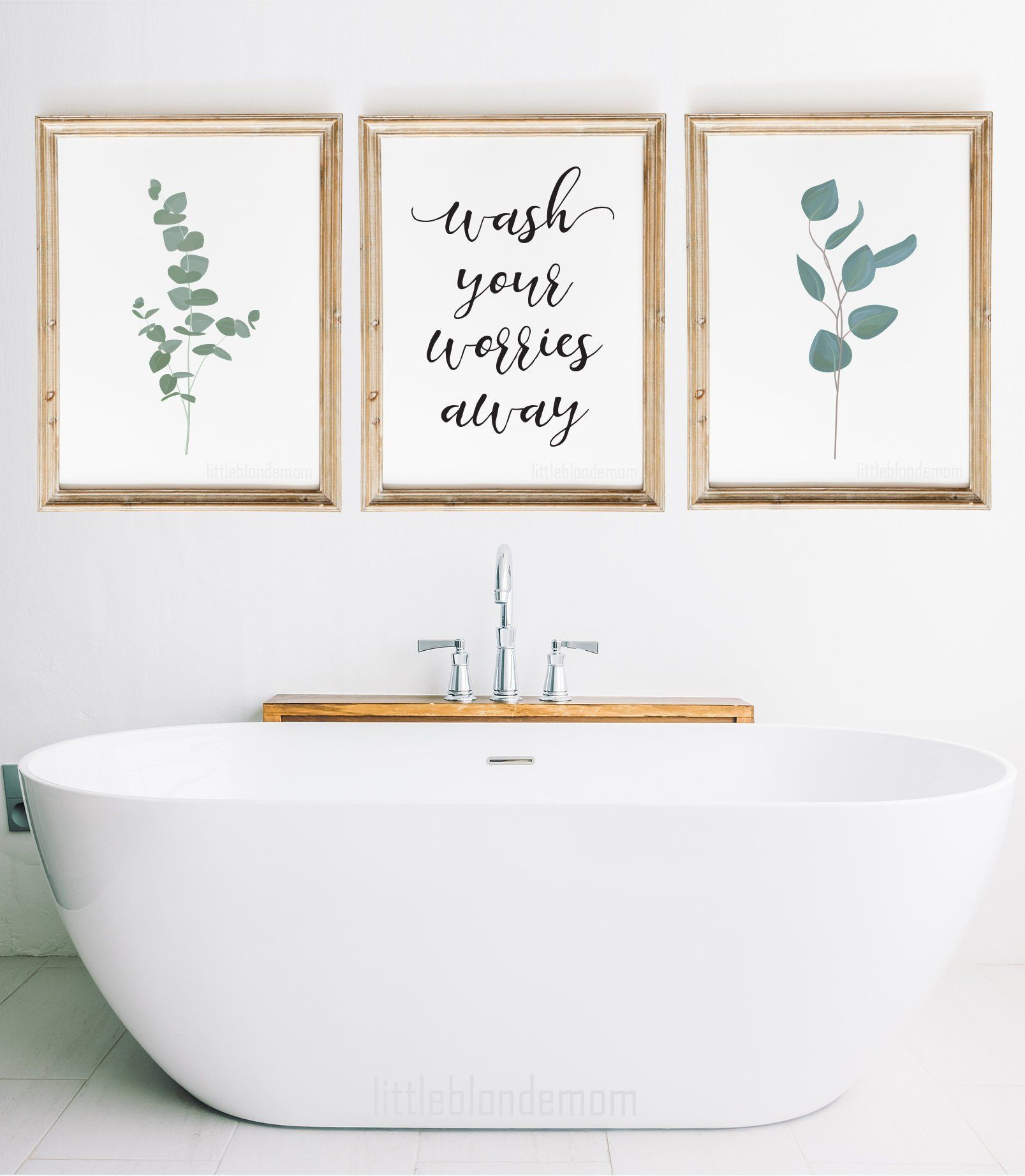 Wash Your Worries Away Eucalyptus Set Of 3 Pretty Bathroom Prints Eucalyptus Farmhouse Wall Art Bathroom Wall Decor Farmhouse Wall Art Bathroom Wall Art