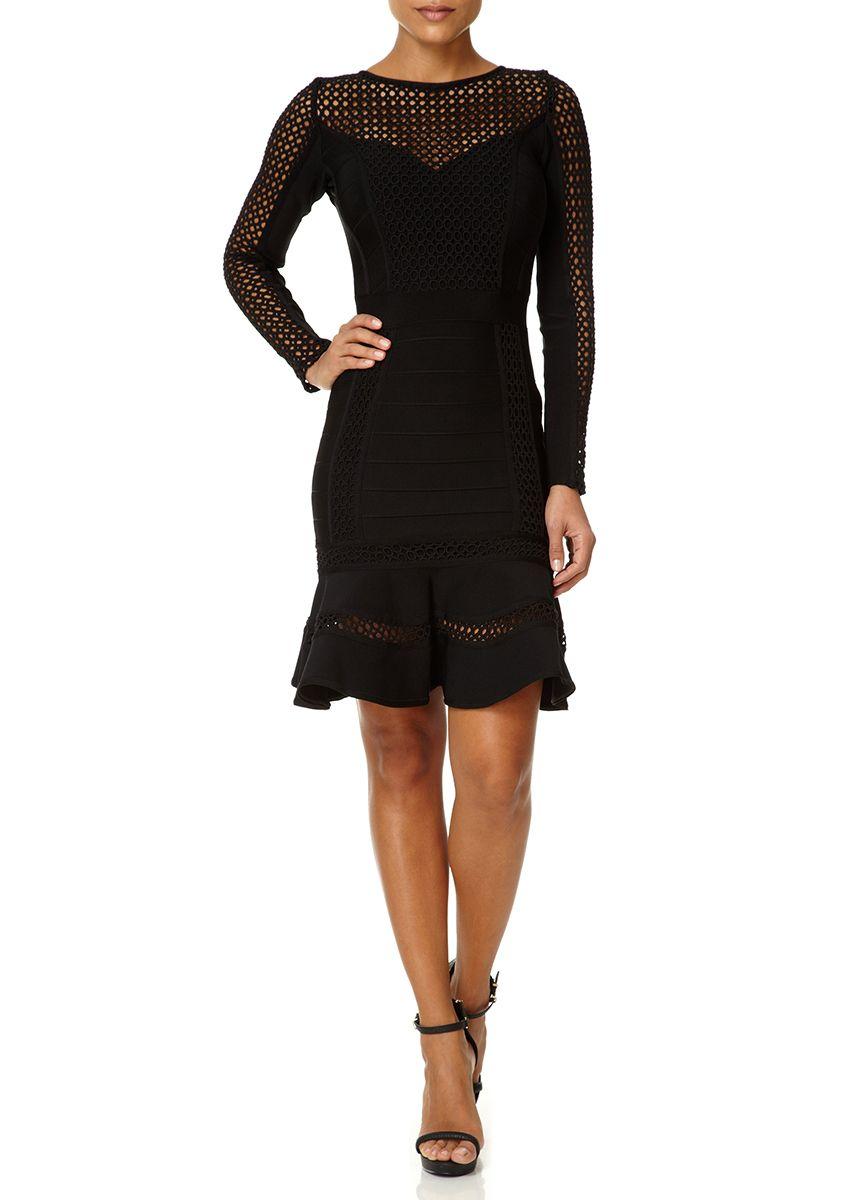 SILVIA - Black Bandage Dress with Flounce Hem Skirt