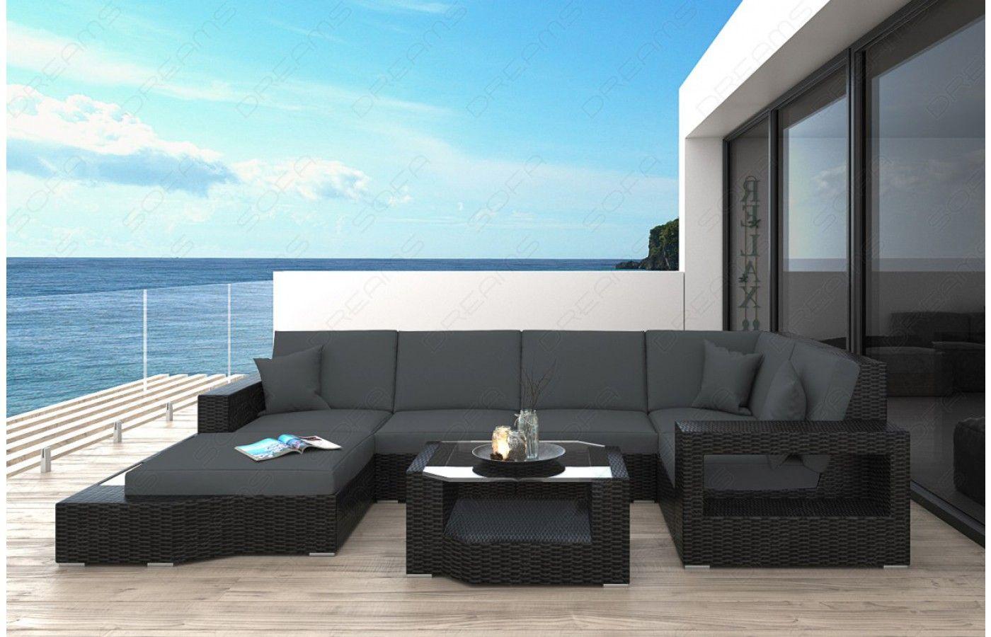 Elegant  Rattan Sofa Lounge MESSANA f r den Au enbereich mit LED Beleuchtung