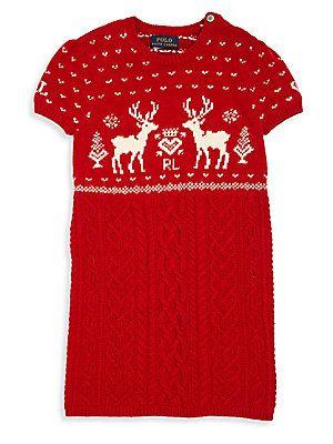 96e5477e66e Ralph Lauren Toddler s   Little Girl s Reindeer Sweater Dress ...