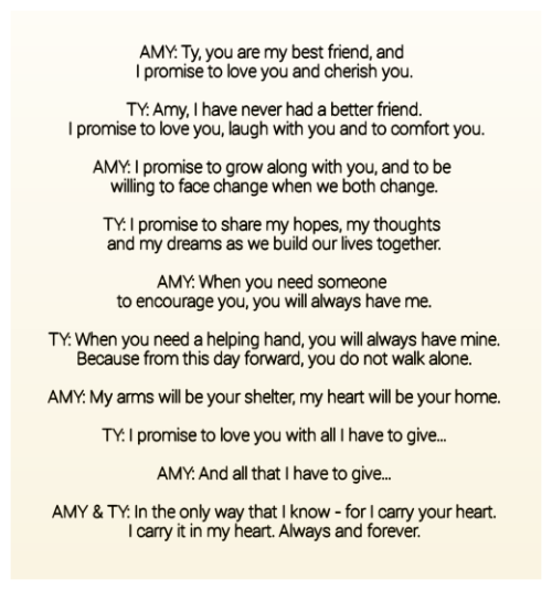 Amy & Ty\'s Wedding Vows....some of the most beautiful vows I\'ve ...