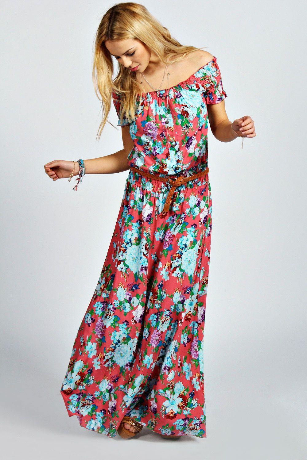 c3b94e38720 Jamie Off The Shoulder Floral Maxi Dress at boohoo.com. this would be so  cute with a hippie hat.