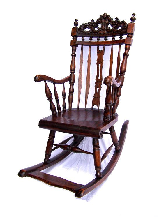Antique rocking chair hand carved baroque by AntiqueAddictions, $ 899. - RESERVED For S. J. Summers. Antique Rocking Chair Rocking
