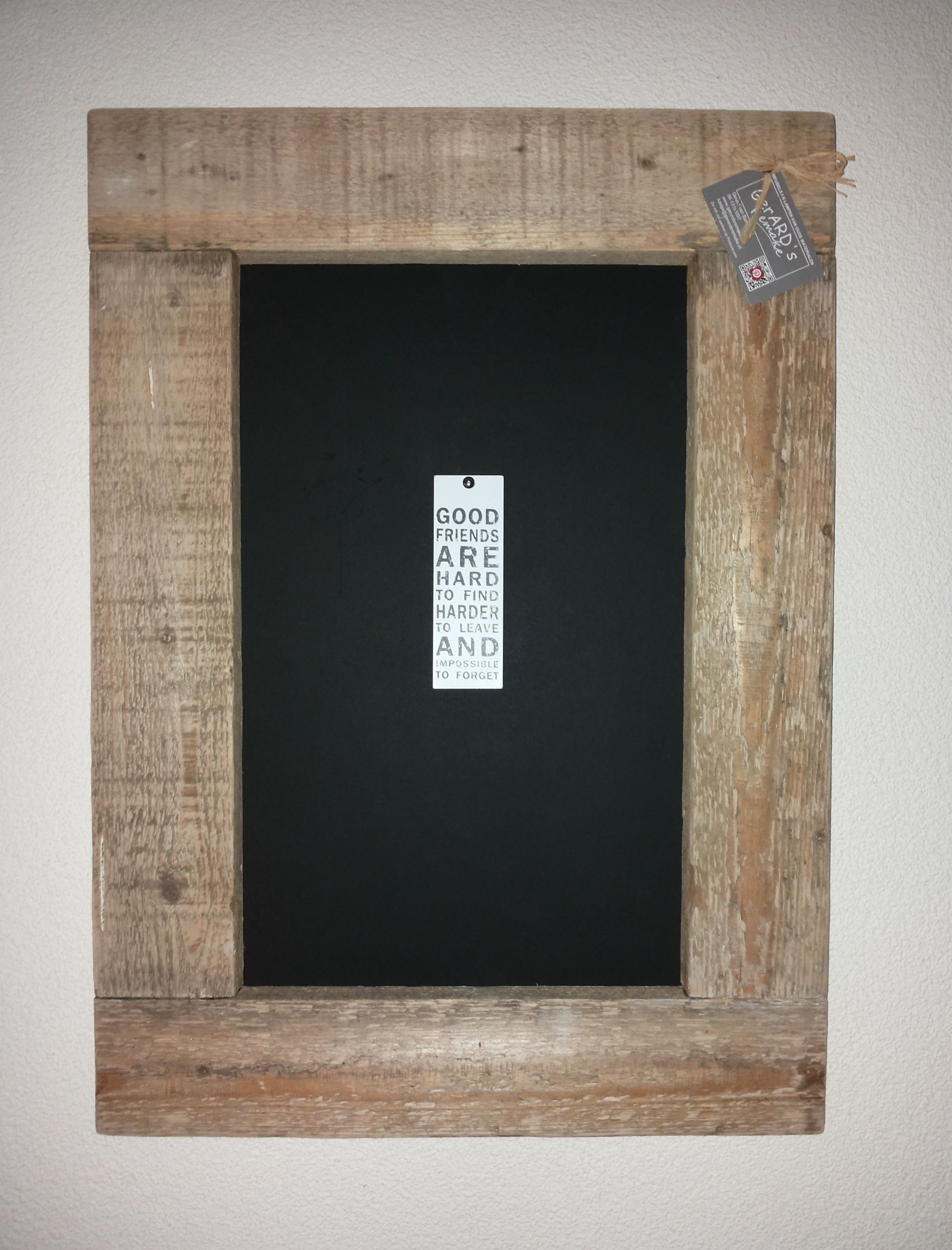 Lijst van oud hout en schoolbordenzwart achterbord buitenmaat 50x 70 cm inwendig 31x 50 5 cm - Decoratie schilderij wc ...
