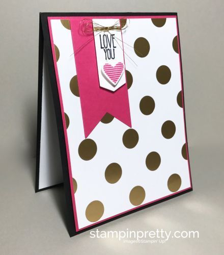 The bold, gold polka dots of Pop of Pink Specialty Designer Series Paper make this clean and simple love card POP. This luscious retiring paper is currently 40% off and only available while supplies l