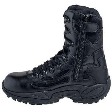 758041205c988f These Reebok Men s Black Rapid Response EH Side Zip Composite Toe Military  Boots are like military tanks for your feet.