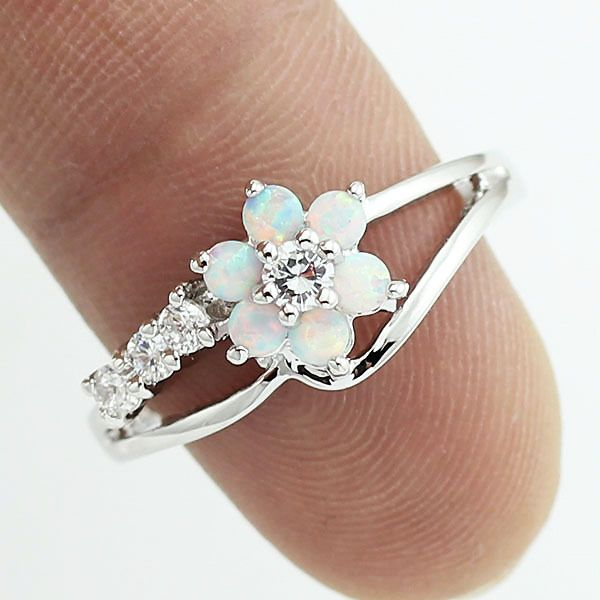 Tiny Cute White Fire Opal Stones Flower Women Opal Silver Rings Size