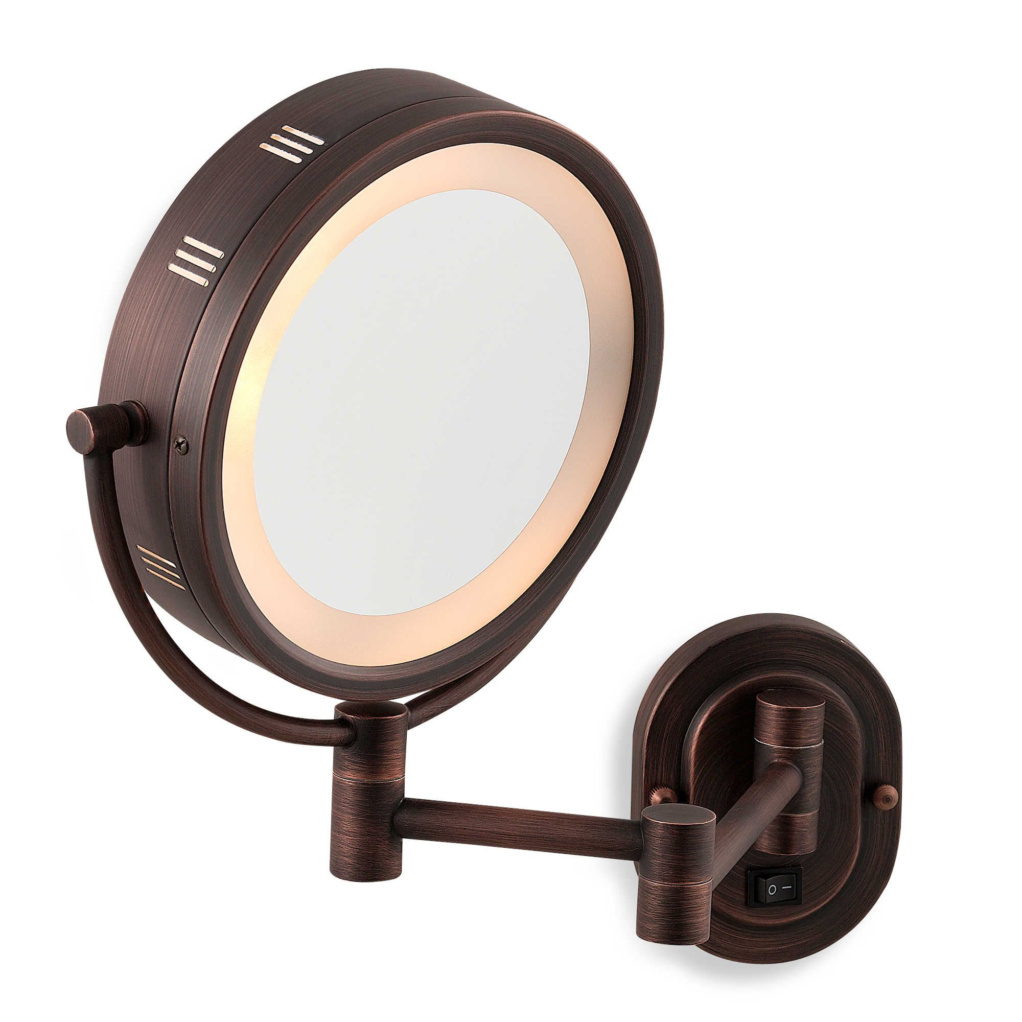 Jerdon 5x 1x Bronze Lighted Hardwired Wall Mount Mirror With