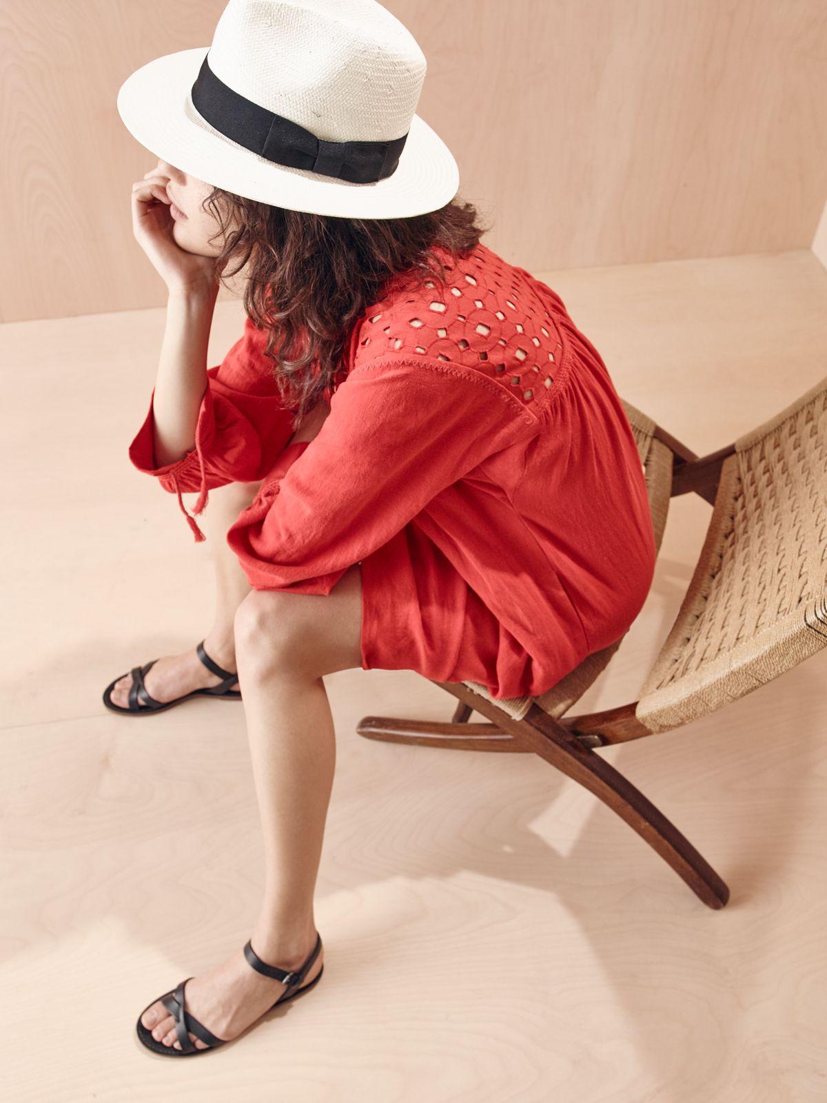 fa1eafbe1997 madewell x biltmore® hat worn with the daybreak dress + boardwalk  crisscross sandal.