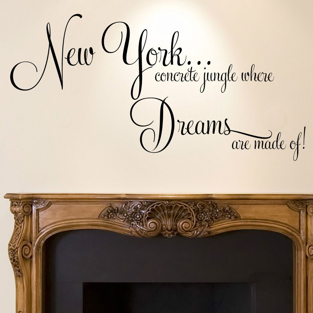 Bedroom Ideas New York new york wall sticker quote - dreams home bedroom decal art