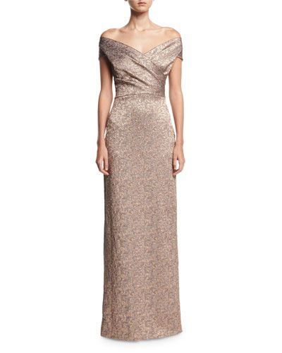 12c8062a12d Rickie Freeman For Teri Jon Off-the-Shoulder Metallic Jacquard Evening Gown