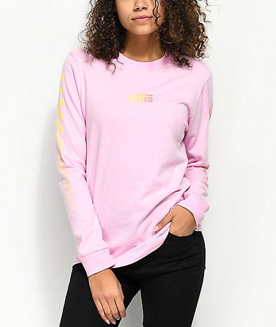 b4166d71b3c4d5 Vans Pastel Gradient Pink Long Sleeve T-Shirt in 2019