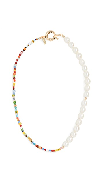 Eliou Thasos Necklace In 2020 Necklace Freshwater Cultured Pearls Rainbow Beads