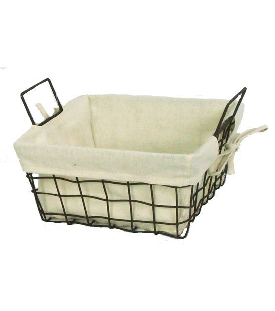 Organizing Essentials 10x10 Wire Basket With Ivory Liner Jo Ann Organization Essentials Wire Baskets Wicker Baskets Storage