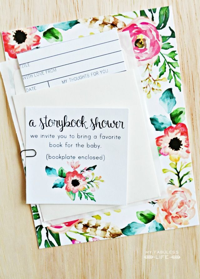 Free Printable Storybook Baby Shower Invitations Library Card Inserts Myfabulesslife