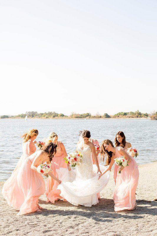 Pink bridesmaids dresses - long, chiffon bridesmaid dresses {Sweet ...