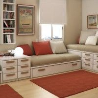 Kids Room. Smart Space Saving Ideas For Shared Kids Room With Beige Brown Daybeds And Built-in Storage Drawers Plus Wall Mounted Shelves. Child Room Interior Design Ideas