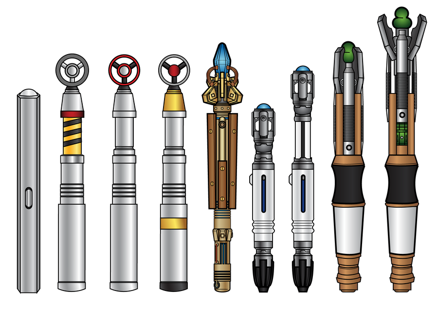 Sonic Screwdrivers By Cosmicthunder Sonic Screwdrivers Through Out The Years From Left To Right The 2nd Doctors Created Doctor Who Doctor Geek Stuff