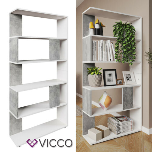 Vicco Divider Bookcase Cupboard Office Shelf Rack 5 Compartments White Concrete Ebay Bookcase Living Room Panelling Home Office Furniture