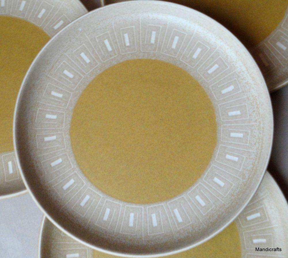 Denby UK Ode Pattern Salad Plate (s) Stoneware 1970s Gold White Geometric Vintage & Denby UK Ode Pattern Salad Plate (s) Stoneware 1970s Gold White ...