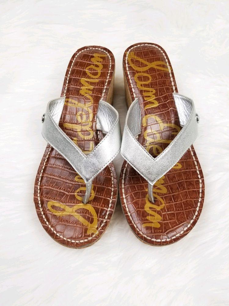 7f1634fc0468 Sam Edelman Romy Sandals Silver Tan Thong Platform Wedges Size 8 M  fashion   clothing