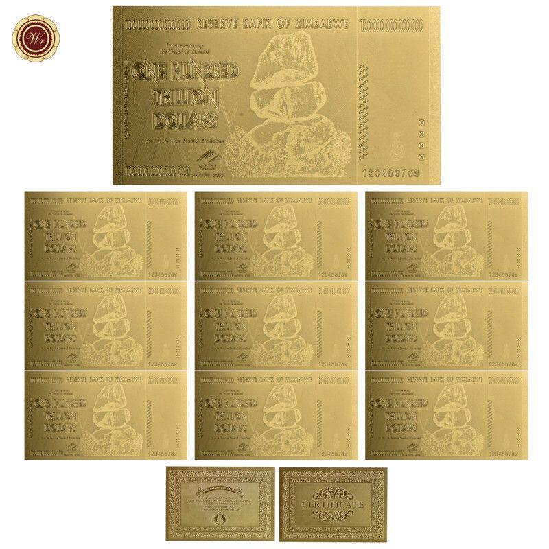 10Pcs Zimbabwe 100 Trillion Dollars Banknotes Color Gold Bill //w Certificate