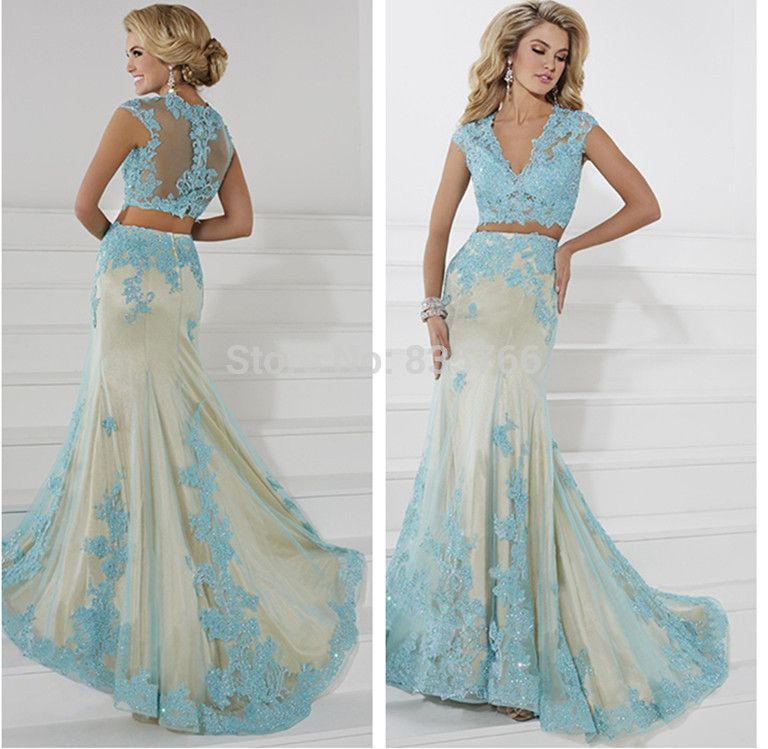 Crop Top Prom Dress Two Piece Sexy Lace Formal Gowns 2015 Longo ...