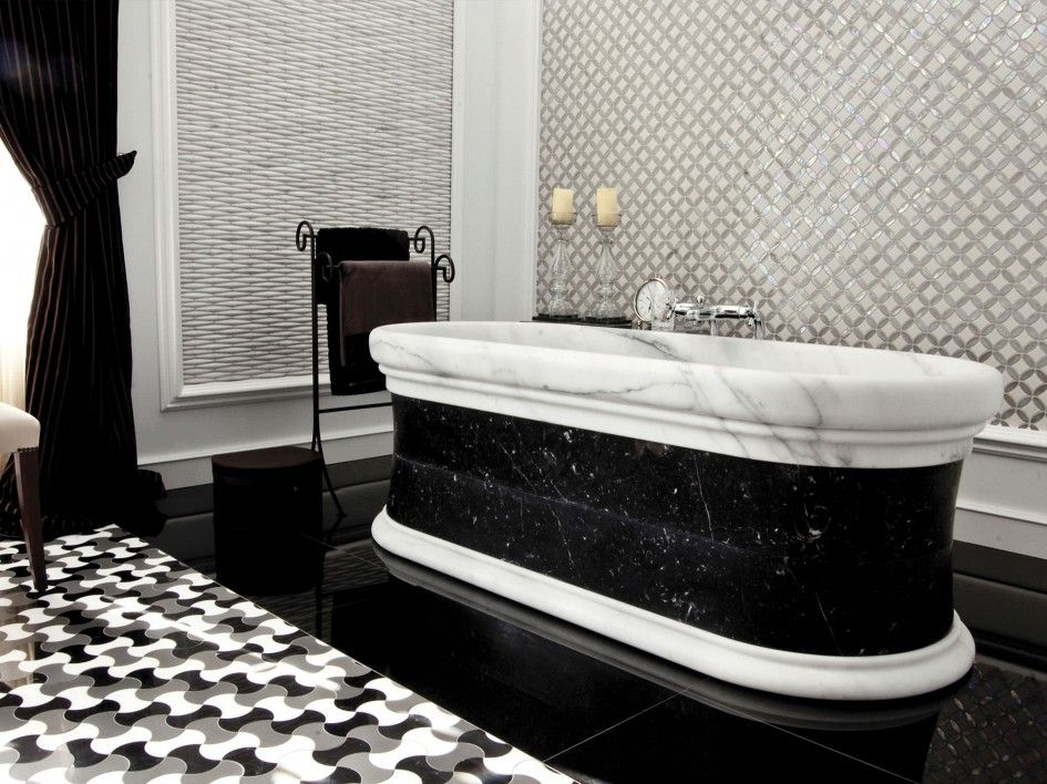 Luxurious And Modern Black Bathroom Design Ideas Luxurious Black White Marble Bathtub Fascinating Mosaic Tile