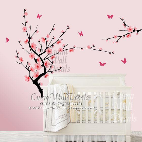 Cherry Blossom Wall Decal Butterfly Wall Decals Nursery Wall Decals Girl  Gift Wall Mural Children   Part 79