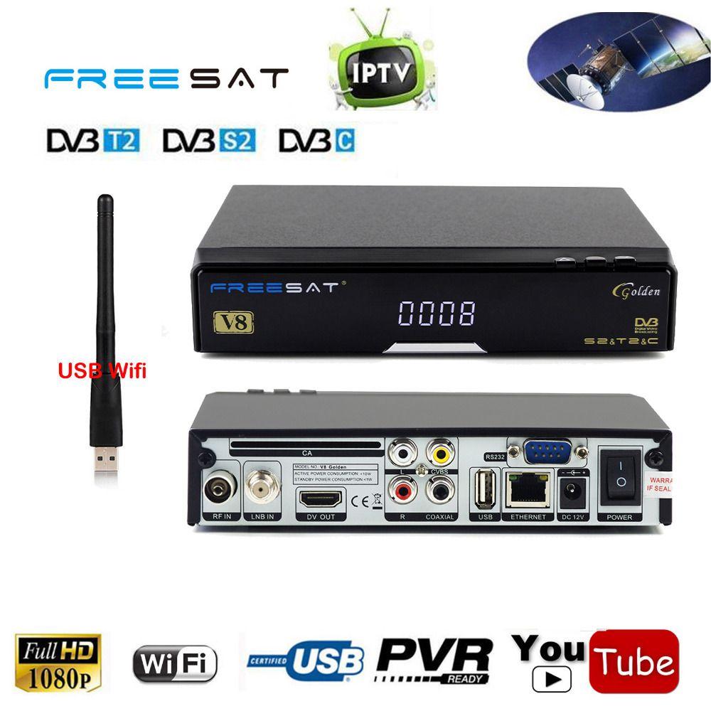 Us 64 01 Free Sat V8 Golden Dvb S2 Dvb T2 Dvb C Cable Combo Iptv Receptor Satellite Receiver Cable Combo Satellite Receiver Dvb T2 Consumer Electronics