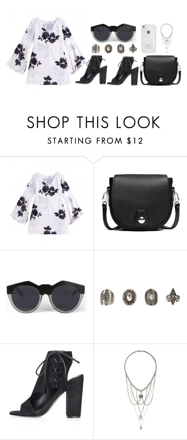 """""""Floral Chiffon Dress"""" by eva-jez ❤ liked on Polyvore featuring rag & bone, Le Specs, Relic and Topshop"""