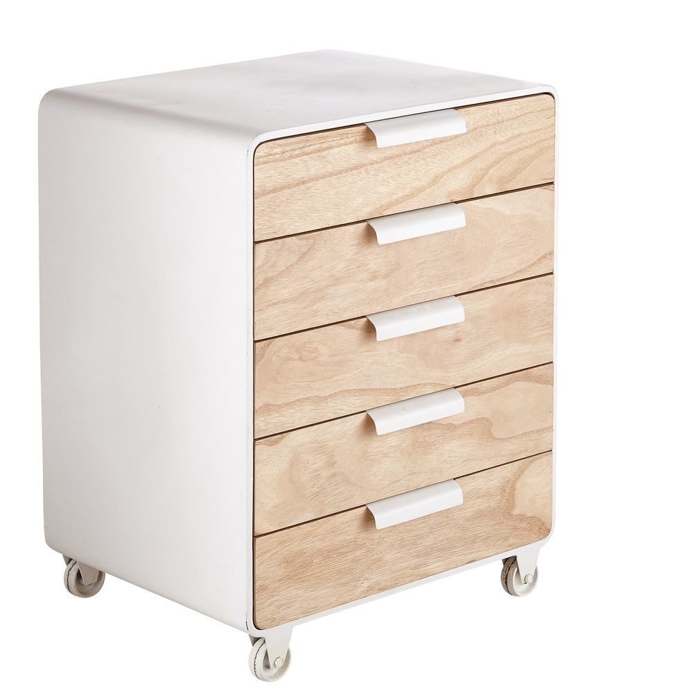 Bout De Canape 5 Tiroirs A Roulettes Maisons Du Monde Drawers On Wheels End Tables Drawers