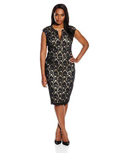 9eb9f4a7b67 Single Dress Womens Plus Size Lace Meg Dress Black Nude 1X Product Review