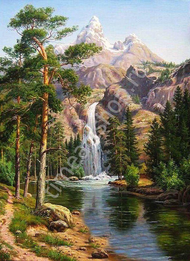 Водопад в горах, картина раскраска по номерам, своими ...