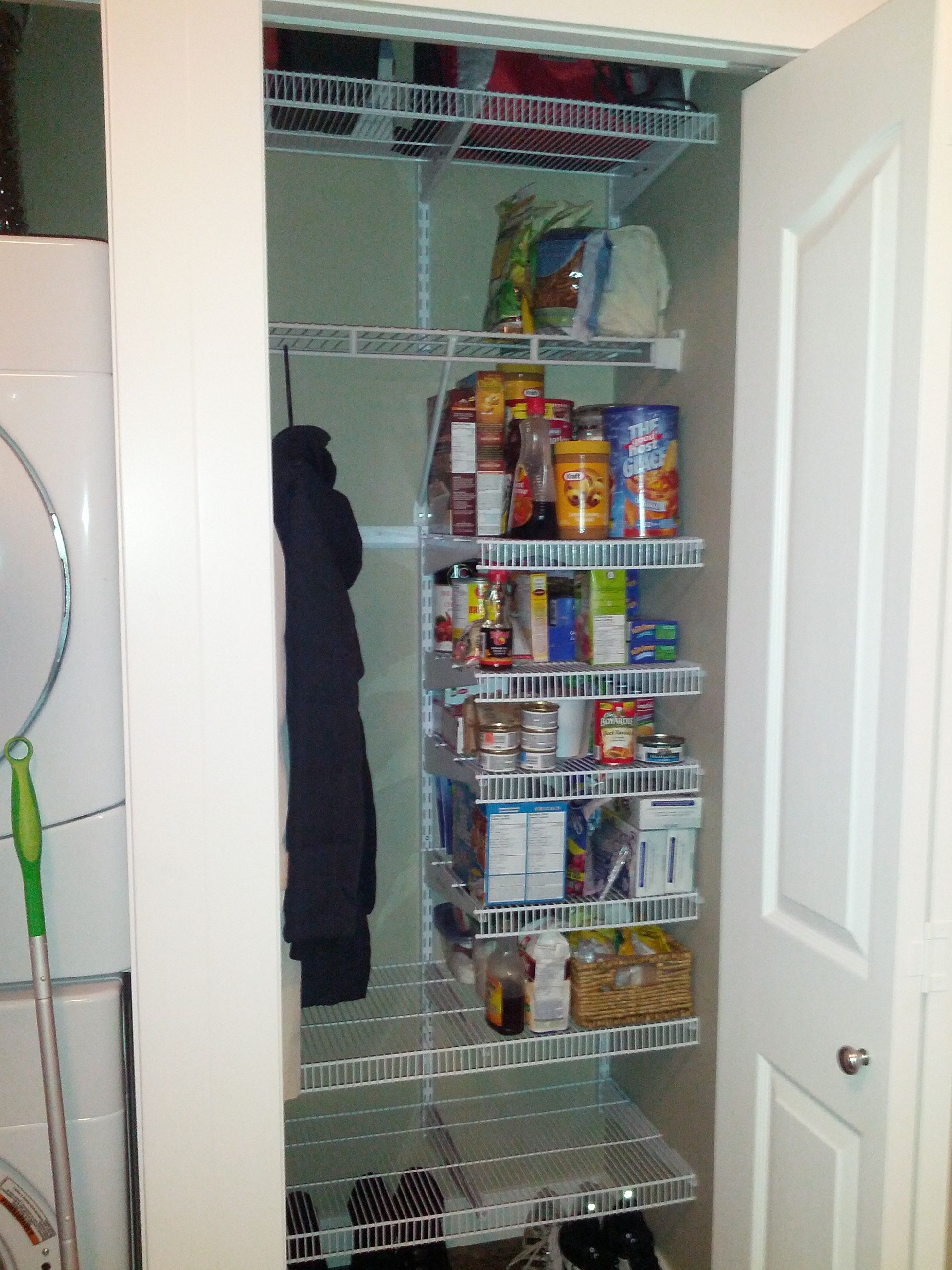 After Closet Organized Really Easy To Do We Used The Rubbermaid Fast Track Pantry Kit Measured Exactly W Deep Closet Home Organization Closet Organization