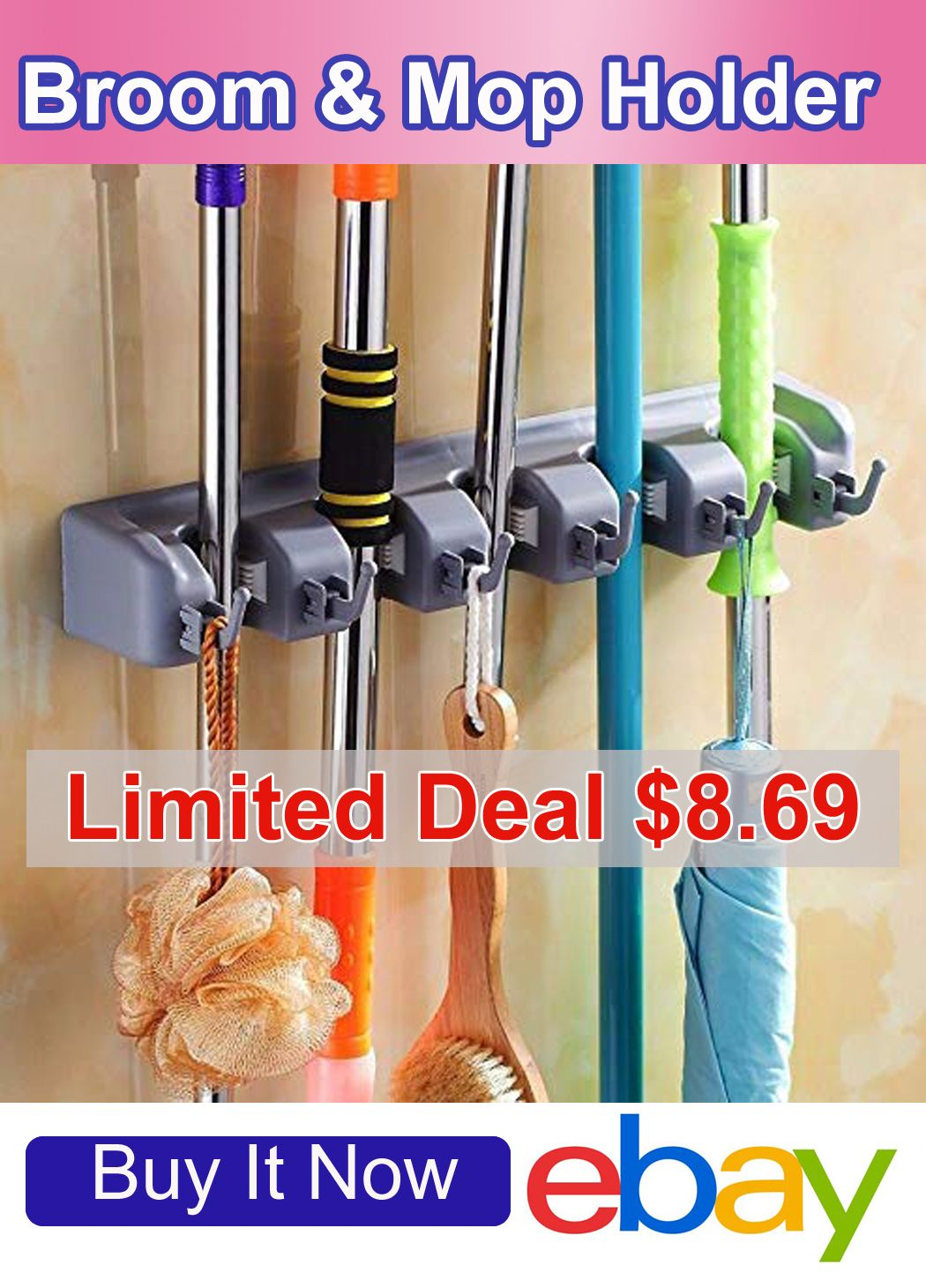 Details about broom holder and garden tool organizer for