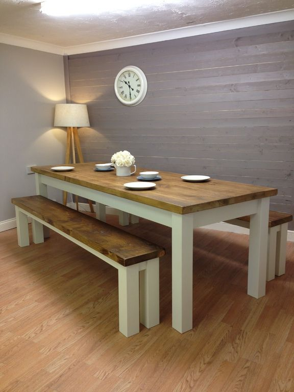 Solid Pine 8ft Dining Table And Benches Shabbychicdiningtable