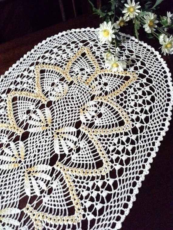 Oval crochet doily White lace Crochet napkin White home decor ...