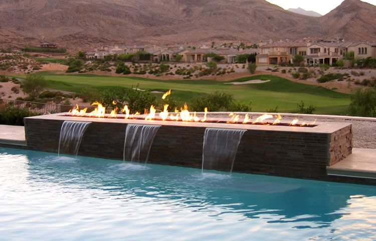 Gallery Of Pool Fire Features Fire By Design Remote Control