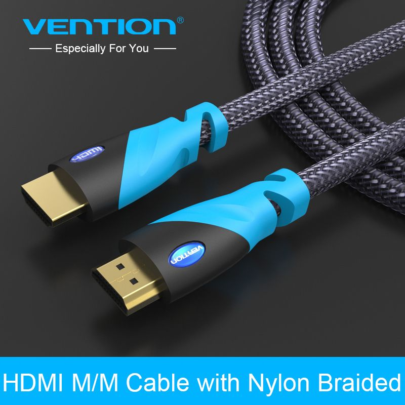 Vention hdmi cable 1 m 2 m 3 m 5 m chapado en oro hdmi macho a macho hdmi 1.4 v 1080 p 3d para ps3 proyector hd lcd apple tv cable de ordenador