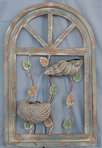 Beau Hanging Wall Water Fountain   Sea Shells U0026 Vines / House2Yard