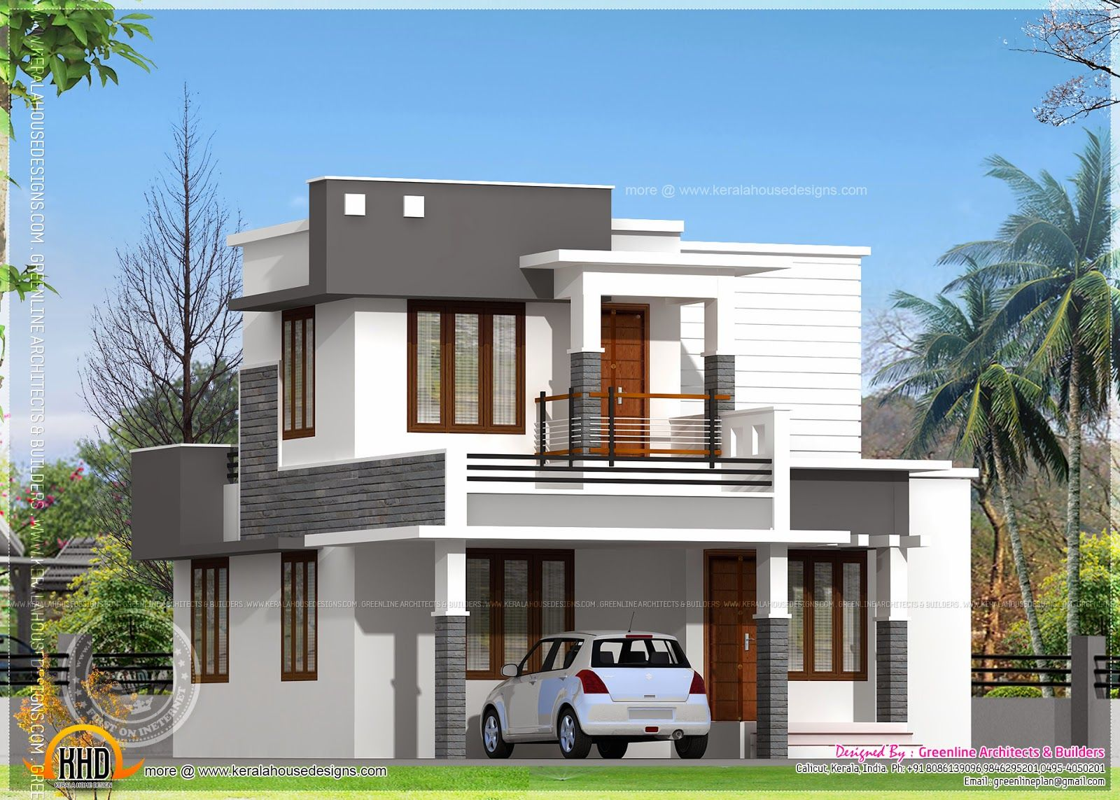 View source image flat roof houses pinterest view Good house designs in india