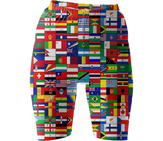 Shop WORLD FLAGS Bike Shorts by THE GRIFFIN PASSANT STREETWEAR (STREETWEAR) | Print All Over Me